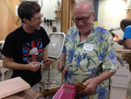 ITE fellow Ben Carpenter, also enjoying his first collaborative workshop, jokes about that pink block of plywood.