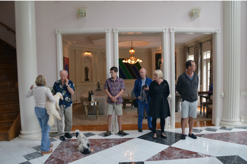Our ITE group - from left, Phil Brown our DC host, Ben Carpenter, Malcolm Martin, Gaynor Dowling and Neil Turner, looks flummoxed by the vast scale of the Huberman's art-filled mansion.