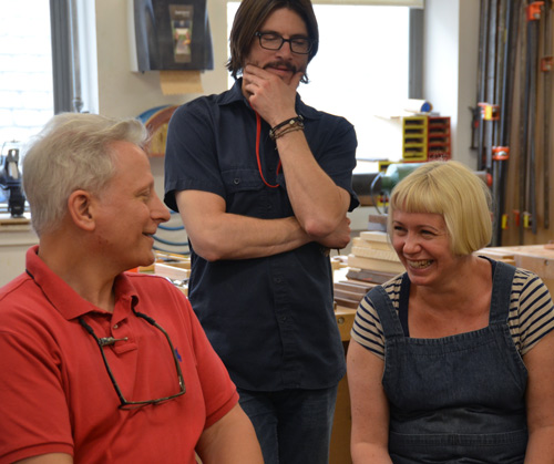 Gaynor Dowling and Jay Cox review the ITE program thus far with Albert LeCoff, director of the Center for Art in Wood.