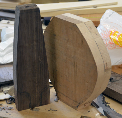 More band-sawn bottle blanks. Up to now, Gaynor and Martin have made solid forms not hollow vessels.