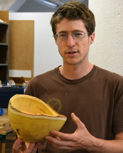 It didn't take Ben very long to turn the first chunk of osage orange into a graceful bowl. We don't yet know how the brilliant color will hold up.
