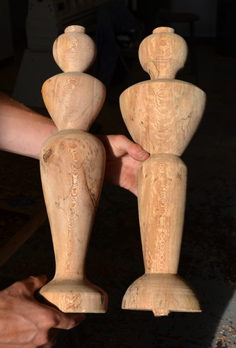 Ben also turned these two figure sketches from spalted maple. Seems pretty safe...