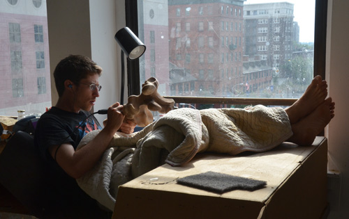 Ben sets up a carving nest in the window at UArts. He's four stories above the traffic, in superb west light.