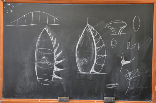 The blackboard sketch shows where Neil and Ben plan to go: a spine of spikes along the carved bottle.