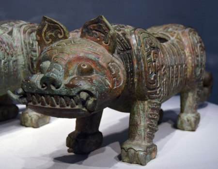 This gorgeous bronze tiger is about 3,000 years old, from China. The creature's back is open so he could have been a storage container or a serving dish.