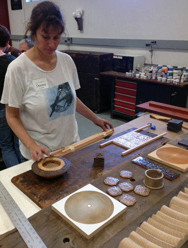 Donna creates an oasis of calm order in the painting studio.