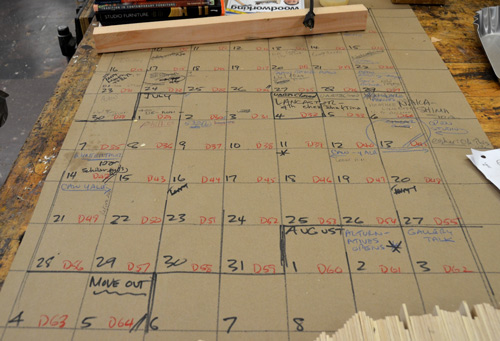 We keep the official calendar on a big sheet of paper that everyone can see and annotate.