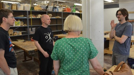 Jay manages the woodworking studio at UArts. It's excellently equipped and we have the run of the place from 7 am to 11 pm every day.