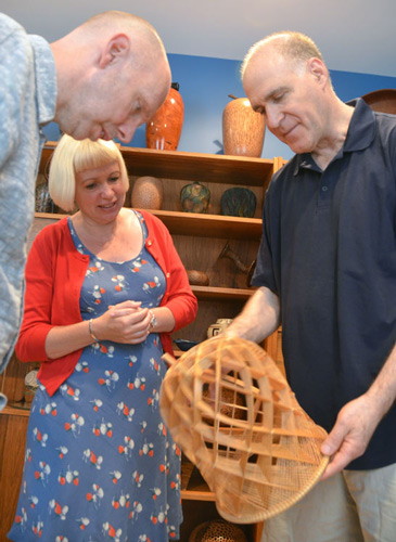 The collection inclus=des some superb examples of contemporary Japanese basketry, like this fine piece Jeff shows to Malcolm and Gaynor.