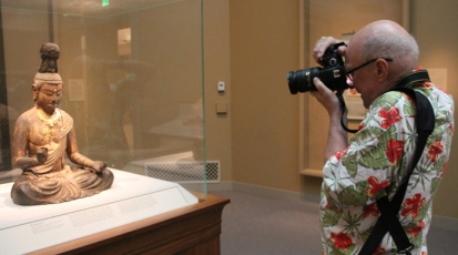 Malcolm caught this snap of your scribe at work in the Freer Gallery.