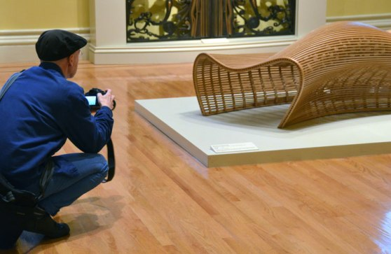 Malcolm also enjoyed this outrageously bent wood settee by the Philadelphia artist Marcus Pleussnig.