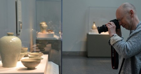 Malcolm Martin shoots a case of tea bowls at the Freer Gallery.