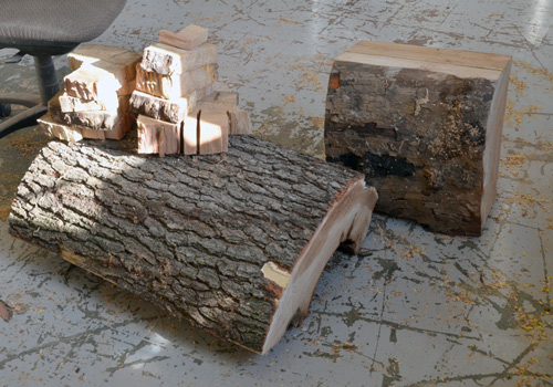 Big lumps of sycamore appear on the workshop floor.