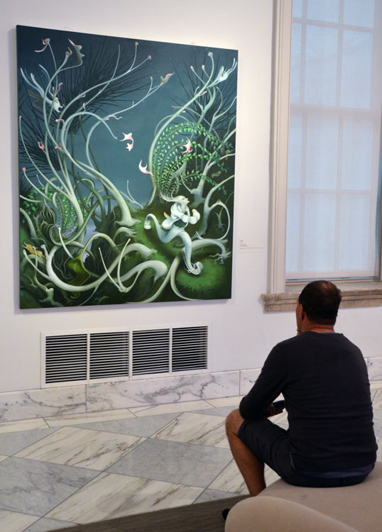 Neil is captivated by a painting depciting the green energy of Spring, in the Smithsonian's contemporary art collection.