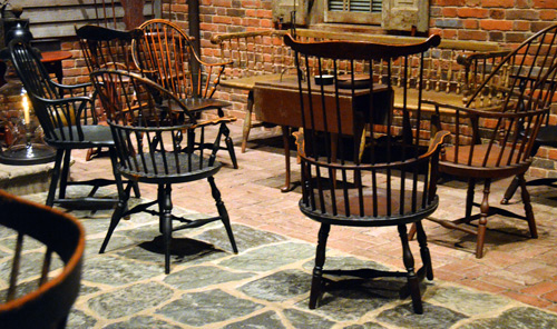 The treen shares a room with thickets of American Windsor chairs, another high point in the history of woodturning.