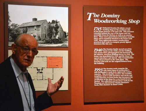 Charles Hummel outlines the Dominy story inside the Winterthur museum. Charles knows everything about it and we are full of questions.