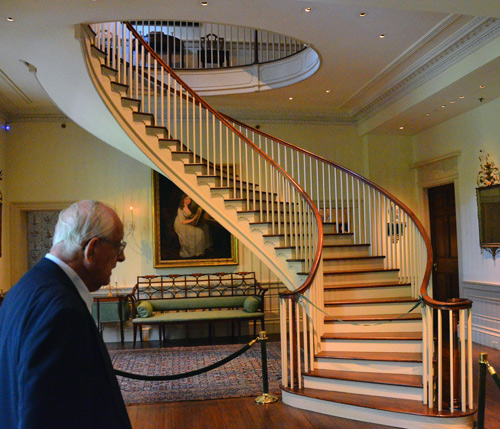 Charles leads us on a tour of the mansion, which has 168 period rooms and more than 100,000 artifacts on display. We see a tiny fraction of the place, which fortunately includes this fabulous elliptical stair. Astounding to think that such a masterpiece could have been made mostly using hand tools.