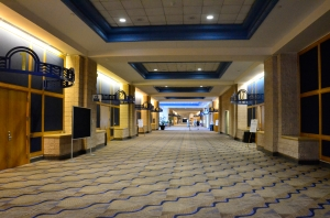 Demonstrations have started and the hallways are empty