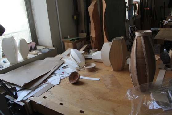 This is a Gaynor's eye view shot of her desk. Maquettes and templates feature...