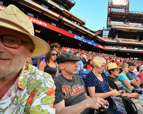 At the Phillies game shooting a selfie with a wide-angle lens. From left, John Kelsey, Malcolm Martin, Gaynor Dowling, Ben Carpenter, Suellen Turner, Neil Turner.