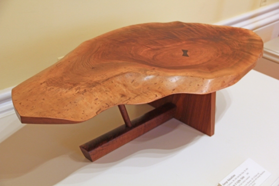 The Nakashima table we found on display in the Renwick in Washington. The natural edge top and butterfly re-inforcement are both Nakashima signatures, though often imitated..