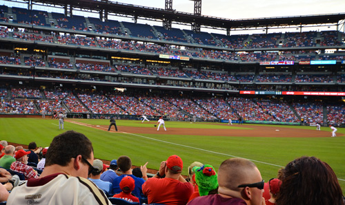 Phillies pummel the Washington Nationals 3-2. Not exactly pummel: they built an early lead, then the game bumbled along until the ninth when a Washington rallied. But the home team prevailed in the end.