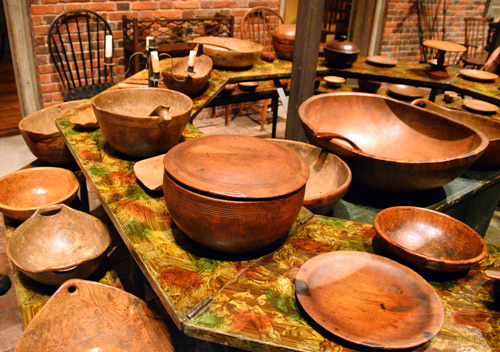The Winterthur collection includes a wonderful selection of woodenware, or treen, from the 17th and 18th centuries. Many of these bowls were turned from burl and most show signs of heavy use.