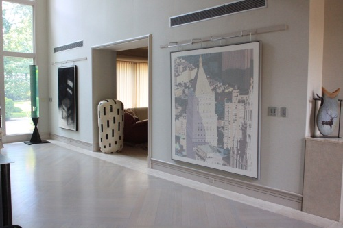 Incredible art pieces grace the walls and floors.