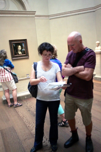 Zina, Grant and Winnie sought out the beautiful Leonardo painting on exhibit. Then Zina and Grant makes plans for the next stop.