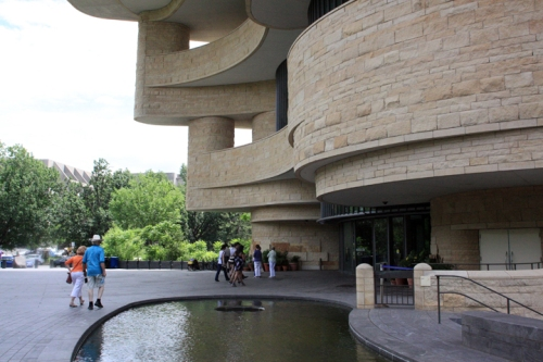 Grant and Zina head into to the National Museum of the American Indian