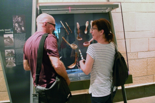Zina and Grant discuss artifact display - and wooden spoons of course - in the National Museum of the American Indian.