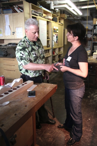 Zina shares her new ideas and work with The Center for Art in Wood director, Albert Le Coffe.