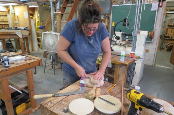 Ashley Erickmoen works on a final project.