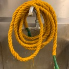 Heide dying our rope in turmeric!